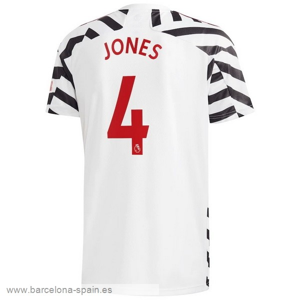 Personalizzate NO.4 Jones Tercera Camiseta Manchester United 2020 2021 Blanco