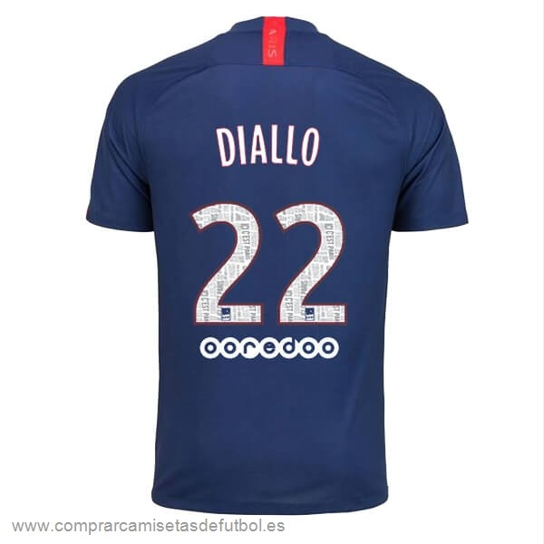 Personalizzate NO.22 Diallo Casa Camiseta Paris Saint Germain 2019 2020 Azul