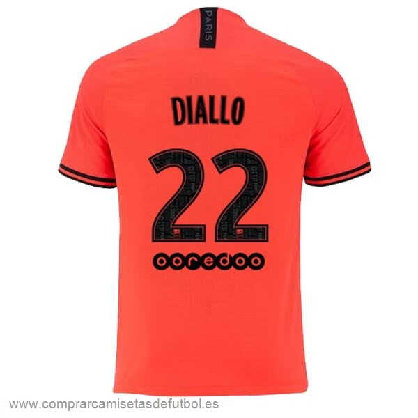 Personalizzate NO.22 Diallo Segunda Camiseta Paris Saint Germain 2019 2020 Naranja